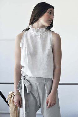 sleeveless flower linen shirt - white / grey / black