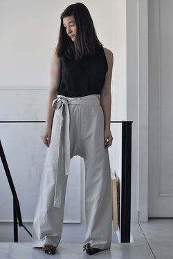 LOOSE LINEN PANTS - STONE / BLACK