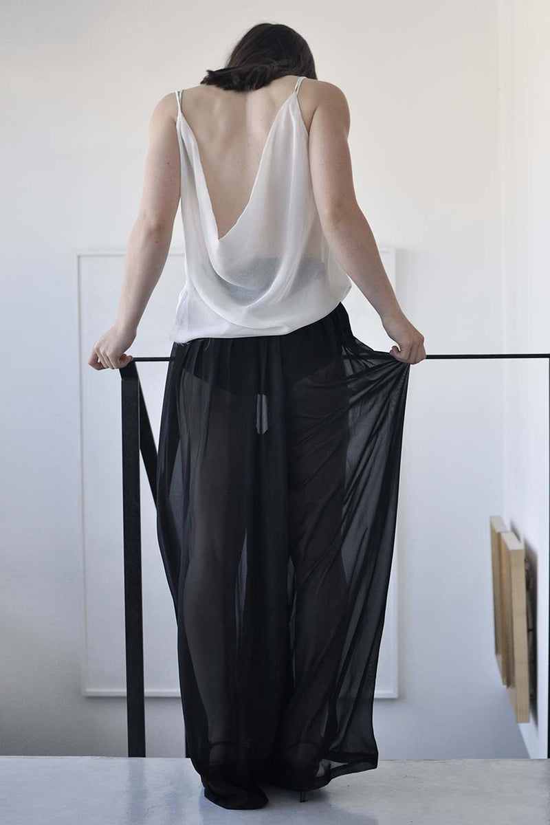 BACK DRAPED SILK TANK - WHITE / BLACK