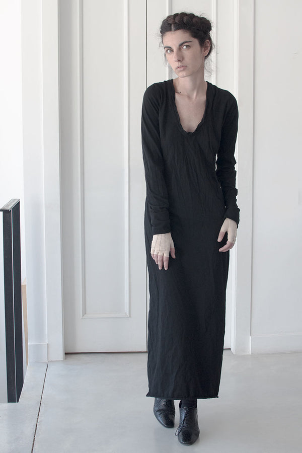 STANDING DEEP V MAXI LONG SLEEVE DRESS