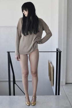 KNITTED CREW NECKLINE LONG SLEEVE SHIRT - MOCHA / BLACK / GREY / CREAM