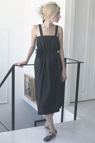 SARAFAN LINEN DRESS - BLACK/STONE/NUDE