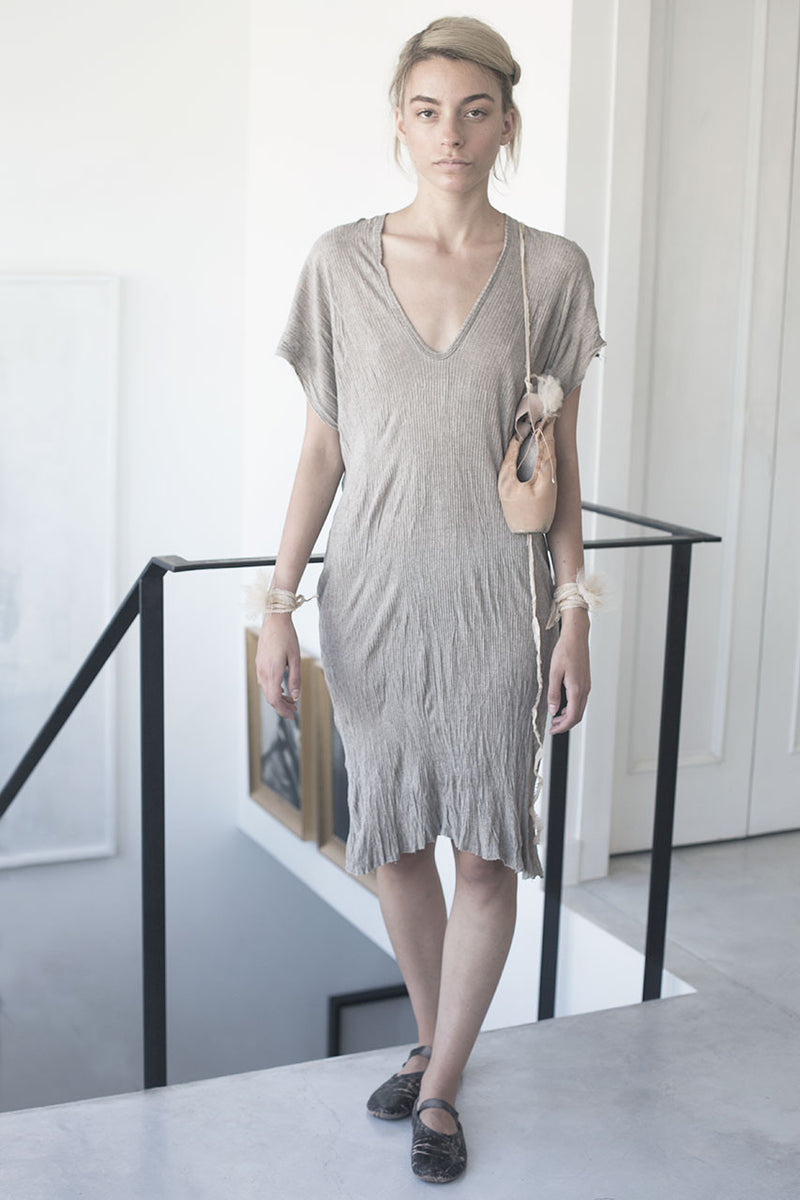 ribbed galabiya dress - stone