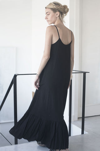 Spanish maxi cupro dress - black