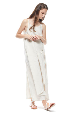 SIDE TIE DRESS - BEIGE