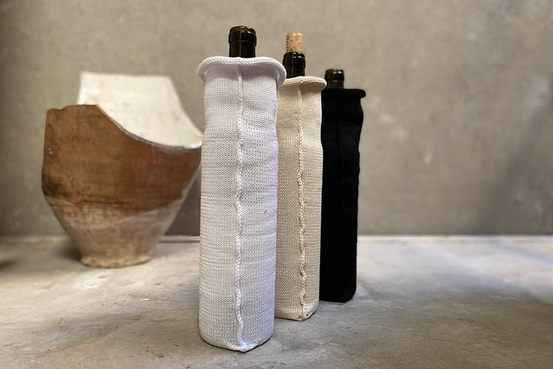 knitted wine case - white / cream / black