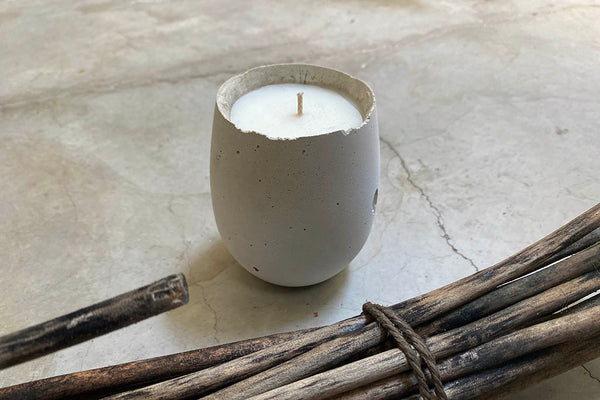 oval concrete scented candle
