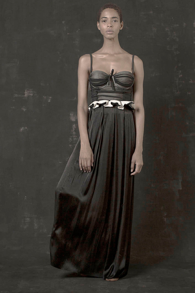 Draped Maxi Skirt - Black