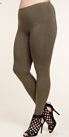 Olive Leggings w/Stones