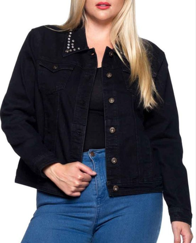 Denim Jacket with Bling Collar