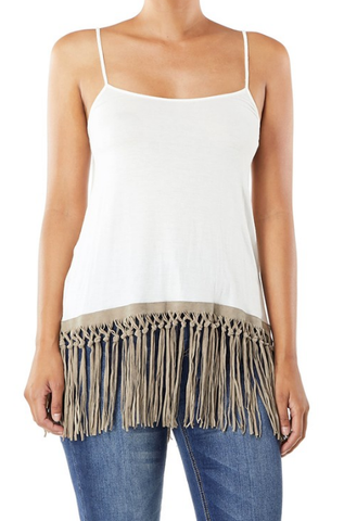 Cami with Lace and Fringe