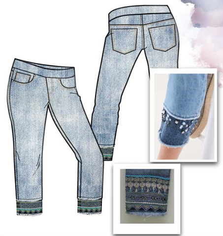 Crop Pull On Jeans with Embroidery
