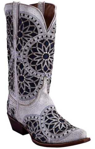 White/Navy Mandala V-Toe Leather Boot