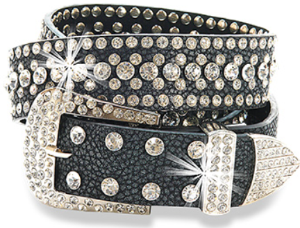 Leather Rhinestone Belt