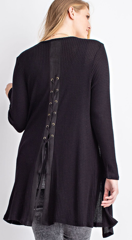 Black Cardigan W/Lace Up Back 1X-3X
