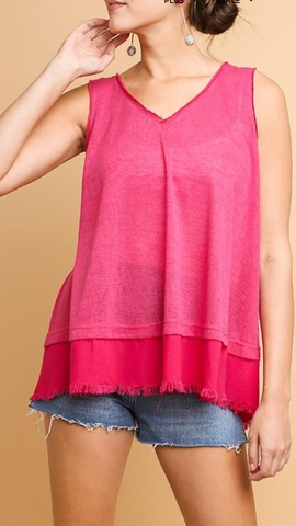 V-Neck with Frayed Hem
