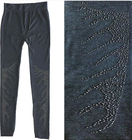 Leggings Grey with Silver Flames