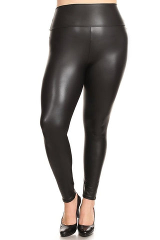 Plus Faux Leather High Waist Legging