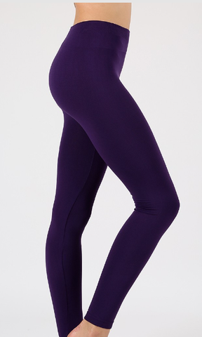 Fleece Leggings - Dark Plum