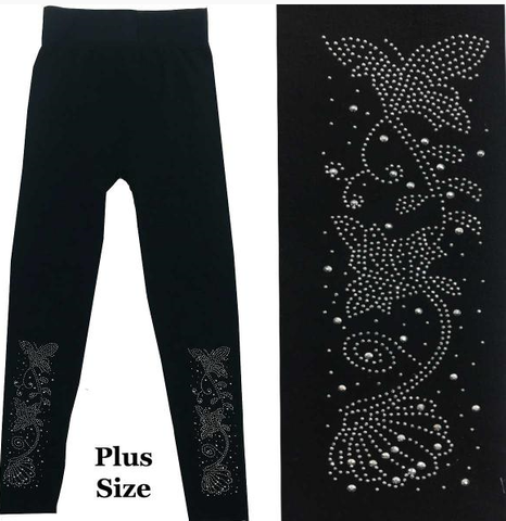 Plus Leggings w/Silver Jewels