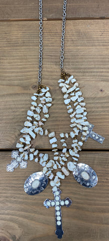Tri-strand White Beaded Necklace