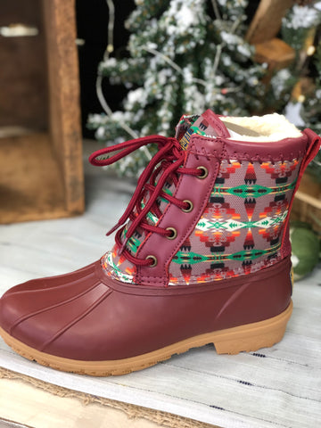 Tucson Print Duck Boot - Scarlet