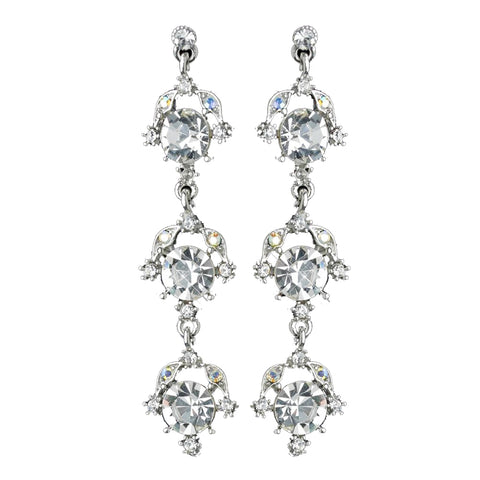 Antique Rhodium Silver Clear Rhinestone Dangle Bridal Wedding Earrings 1036