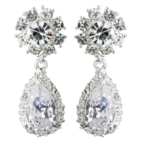 "Silver Clear ""Kim Kardashian"" Inspired Crystal Bridal Wedding Earrings 1538"