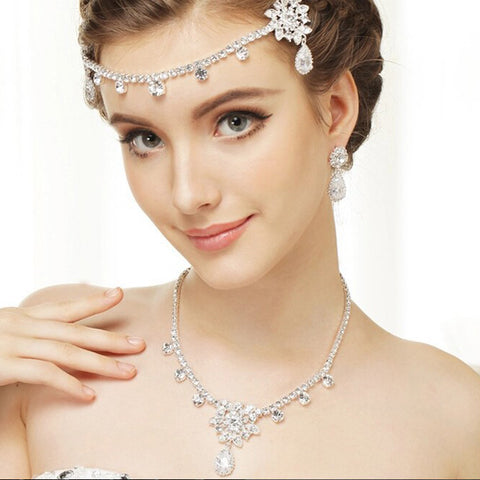 "Silver Clear ""Kim Kardashian"" Inspired CZ Crystal Bridal Wedding Necklace 1538"