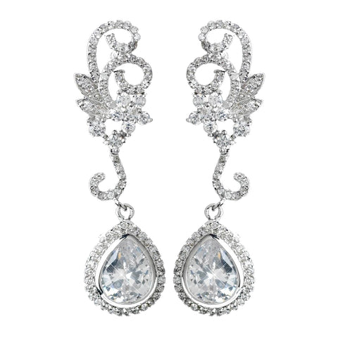 Antique Rhodium Silver Swirl Flower & Teardrop Encrusted Pave CZ Crystal Bridal Wedding Earrings 2899