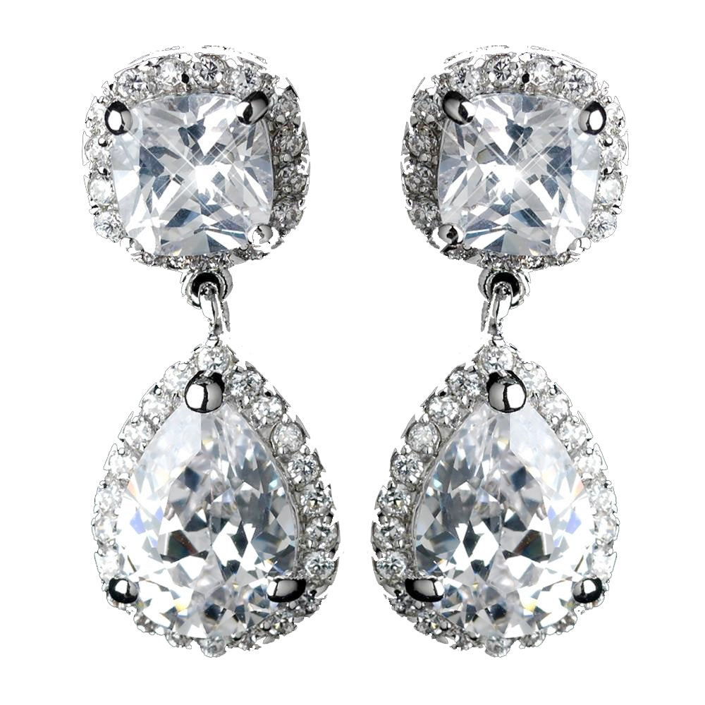 Antique Rhodium Silver Cushnet & Teardrop Pave Encrusted CZ Crystal Drop Bridal Wedding Earrings 2900