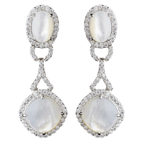 Silver CZ Opal Pearl Dangle Bridal Wedding Earrings