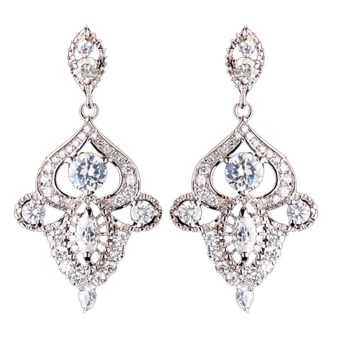 Rhodium Silver Vintage CZ Dangle Bridal Wedding Earrings 3908