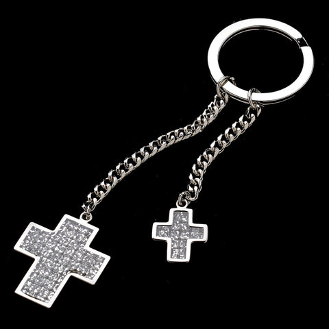 Crystal Glitter Double Cross Bridesmaids Key Chain 3960