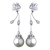 Antique Rhodium CZ Crystal & Diamond White Pearl Drop Bridal Wedding Earrings 4015