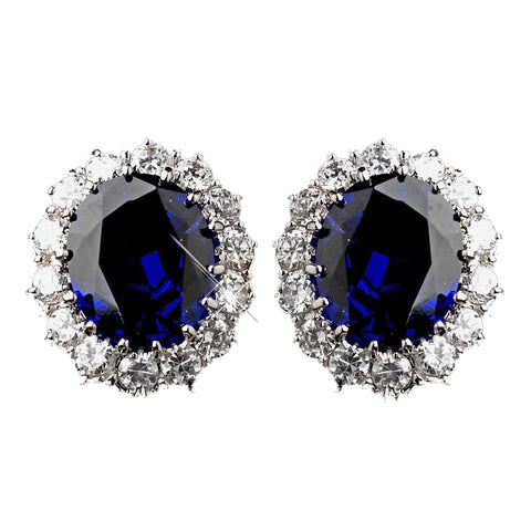 Silver Sapphire Kate Middleton Inspired Bridal Wedding Earrings 5015