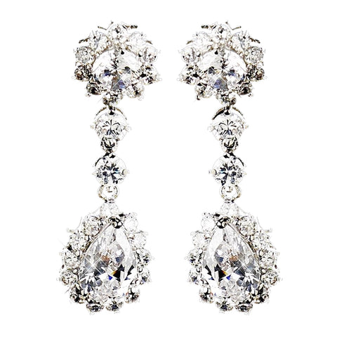 Silver Clear CZ Earring Kate Middleton Inspired Bridal Wedding Earrings 5560