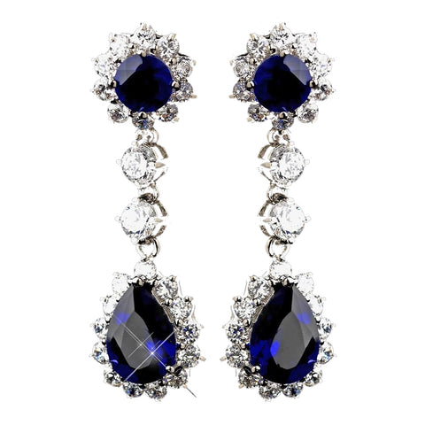 Princess Kate Middleton Inspired Silver Clear & Sapphire CZ Drop Bridal Wedding Earrings 5560