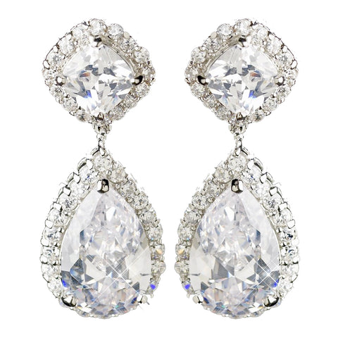 Antique Silver Clear CZ Earings E 5828