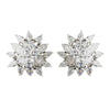Antique Silver Clear CZ Sunflower Bridal Wedding Earrings 5901