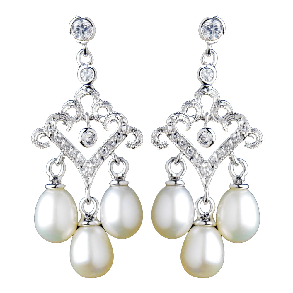 Antique Rhodium Small Freshwater Pearl Drop Chandelier Bridal Wedding Earrings 6524