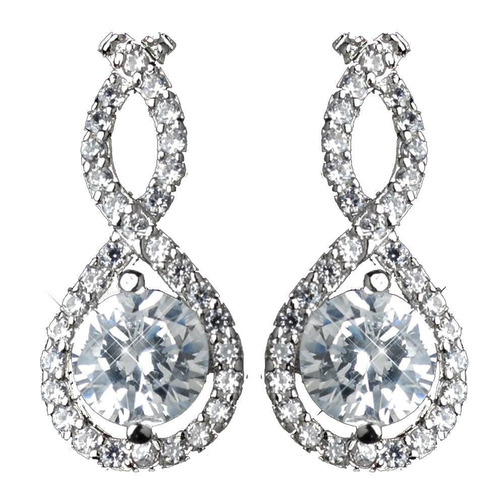 Antique Rhodium Silver Clear CZ Crystal Petite Eternity Infinity Bridal Wedding Earrings 7407