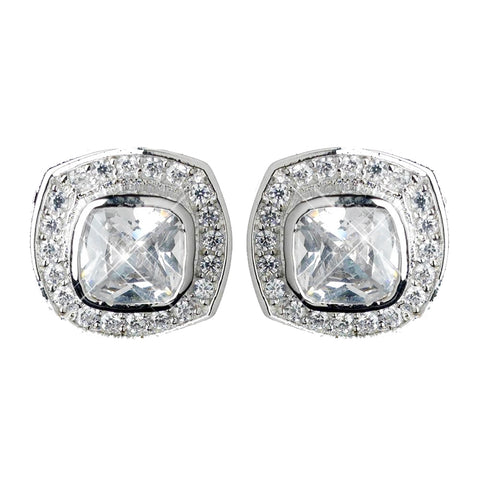 Antique Rhodium Silver Clear CZ Crystal Cut Stud Bridal Wedding Earrings 7410