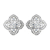 Antique Rhodium Silver Clear Vintage Encrusted Stud Bridal Wedding Earrings 7411