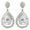 Antique Silver Clear CZ Dangle Drop Bridal Wedding Earrings 7427