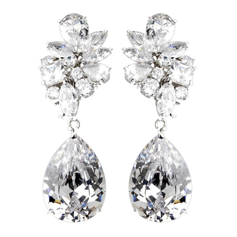 Antique Silver Clear Cubic Zirconia Bridal Wedding Earrings 7510