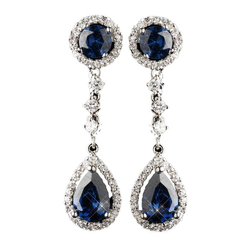 Antique Silver Rhodium Sapphire CZ Crystal Drop Bridal Wedding Earrings 9116