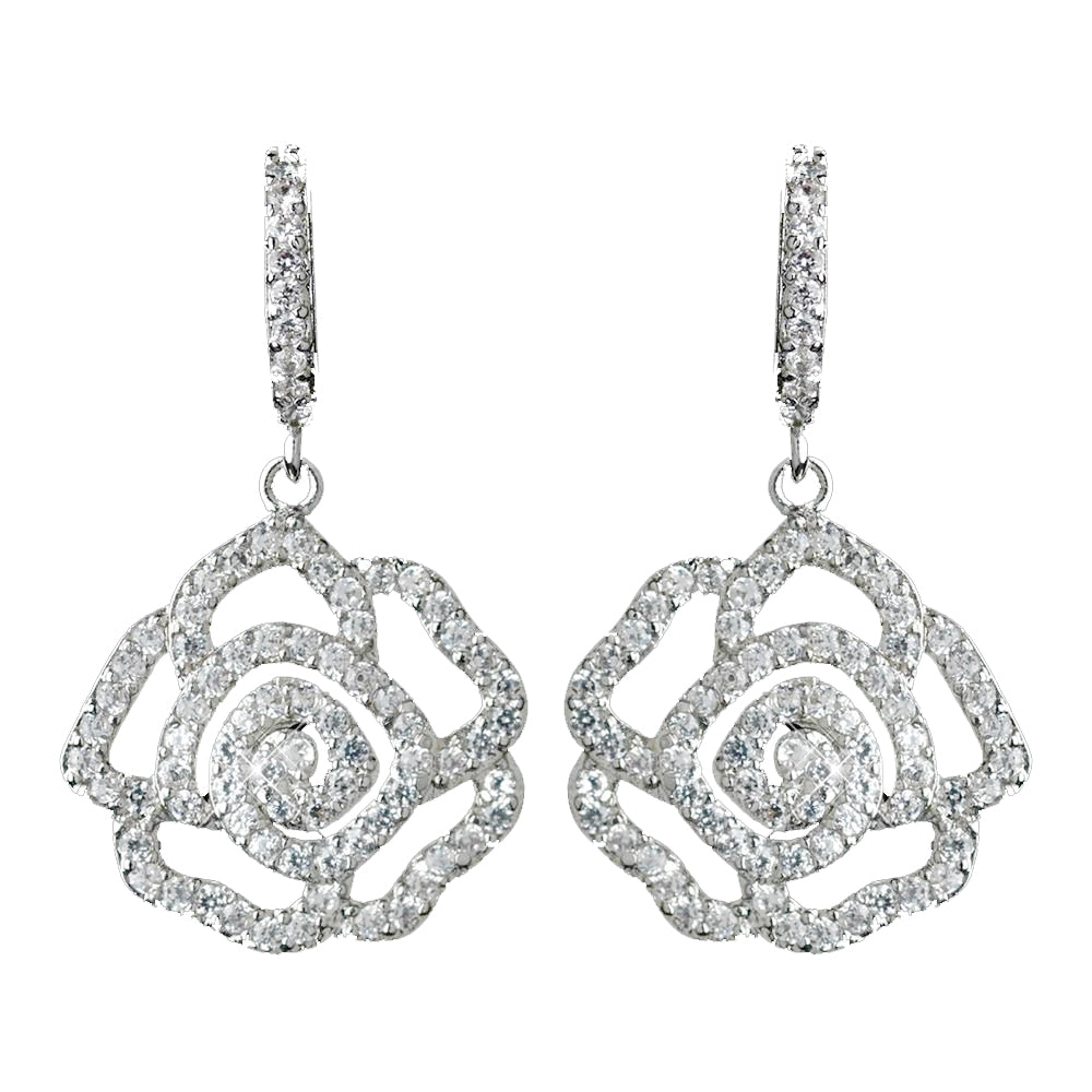 Antique Rhodium Silver Clear CZ Crystal Encrusted Pave Rose Dangle Bridal Wedding Earrings 7765