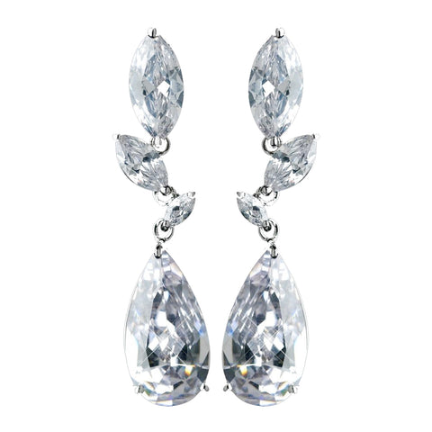 Antique Rhodium Silver Clear CZ Crystal Marquise And Teardrop Bridal Wedding Earrings 7768