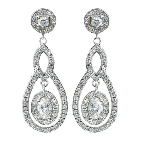 Antique Rhodium Silver Clear CZ Crystal Pave Encrusted Vintage Bridal Wedding Earrings 7778